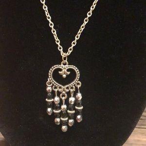 Silver Chain Boho Pendant Necklace